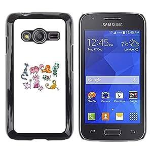 TopCaseStore / la caja del caucho duro de la cubierta de protección de la piel - Cat Pattern White Drawing Artistic - Samsung Galaxy Ace 4 G313 SM-G313F