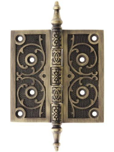 teeple Tip Hinge With Decorative Vine Pattern In Antique Brass Finish (Antique Brass Finish Steeple)