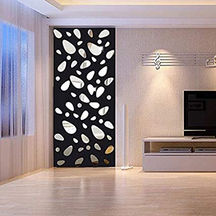 JEWH 12pcs/Set 3D DIY Wall Sticker Decoration Mirror Wall Stickers for tv Background Home