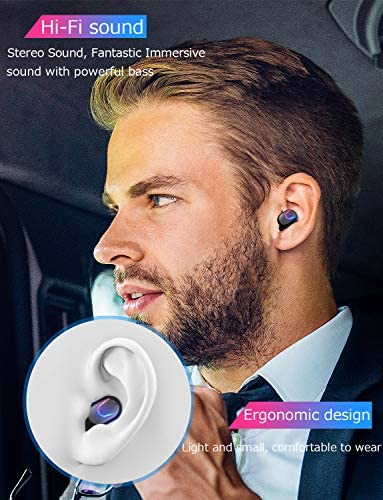 True Wireless Earbuds, Bluetooth 5.0 Headphone, in-Ear Button Control Hi-Fi Stereo Sound IPX5 Waterproof, Built-in Mic Earphones Gift for Work Sport Gym Travel Running
