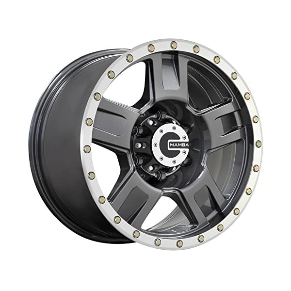 Mamba-M18-Matte-Graphite-Wheel-with-Painted-Finish-and-Machine-Bead-Lip-20-x-9-inches-6-x-139-mm-12-mm-Offset