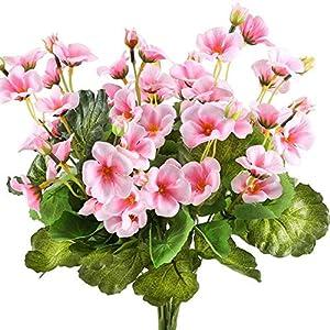 MARJON FlowersArtificial Silk Flowers Pink Begonia Fake Floral Bouquet Indoor Outdoor Home Kitchen Farmhouse Wedding Centerpiece Arrangements Decor 13