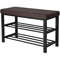 SONGMICS 32' Metal Shoe Bench 2-Tier Shoe Rack Entryway Shoe Storage Organizer Faux Leather Top ULBS58Z