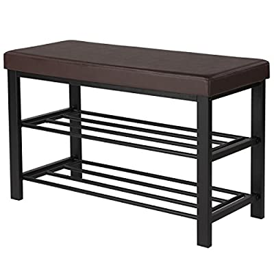 "SONGMICS Shoe Bench, 3-Tier Shoe Rack for Entryway, Storage Organizer with Foam Padded Seat, Faux Leather, Metal Frame, for Living Room, Hallway, 31.9 x 12.6 x 19.3 Inches, Brown ULBS58Z - Bench, Shoe Rack, Eye-catcher: In a classic black that could go with anything, this SONGMICS shoe bench is ready to support you as you lace up your shoes and raise a welcoming atmosphere in your entryway; now your guests won't have to balance as they put on their shoes Wobble? Fat Chance! Thanks to its compact and sturdy powder-coated iron frame, this well-padded bench can hold up to 440 lb (static load-bearing capacity) and is more resistant to wobbling, providing quality for the price Comfort Is Not Lost: Though you won't spend too long on the shoe bench, we still want to ensure you are comfortable every minute at home; that's why this bench uses 2"" foam padding and a PVC cover - entryway-furniture-decor, entryway-laundry-room, benches - 516MCcxdcfL. SS400  -"