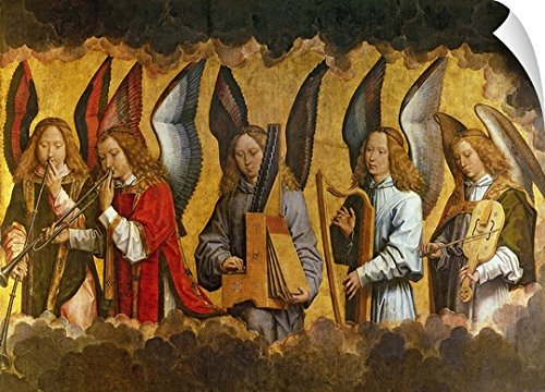 Organ Portative (Canvas on Demand Hans Memling Wall Peel Wall Art Print entitled Angels Playing Musical Instruments, right hand panel from a triptych 36