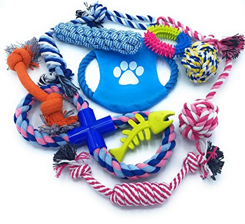 Best Tug of War Dog Supplies Pack | Most Popular Small Medium Large Prime Training Indestructible Tuffy's Toys | Aggressive Chewer Frisbee Entertainment | Top Rated Plush Soft Puppy Chews (Pack of 10)