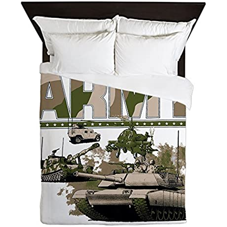 Queen Duvet Cover US Army Hummer Soldiers Tanks