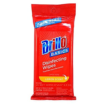 Brillo Basic Disinfecting Wipes 25Ct Lemon Scent (pack of 6)