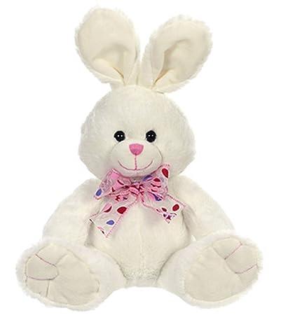 Amazon Com Napco Soft Plush White Easter Bunny Rabbit With Pink