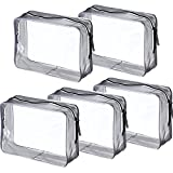 pouch Pangda 5 Pack Clear PVC Zippered Toiletry Carry Pouch Portable Cosmetic Makeup Bag for Vacation, Bathroom and Organizing (Large, Transparent)