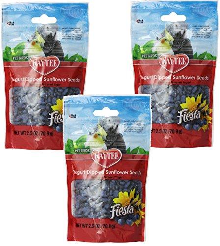 (3 Pack) Kaytee Fiesta Blueberry Flavored Yogurt Dipped Sunflower Seeds Bird Treat, 2.5 Ounce each