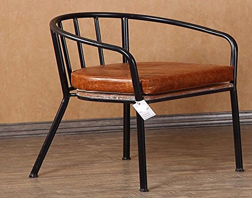 MQHY Chair Retro Iron Craft Chair Make Old Backrest Sofa Chairs Cafe Lounge Chair Hotel Stylish Computer ChairOffice Chair Balcony Creative Stool Personality Of The Armchair,Black,49CM44CM43CM by MQHY Chair