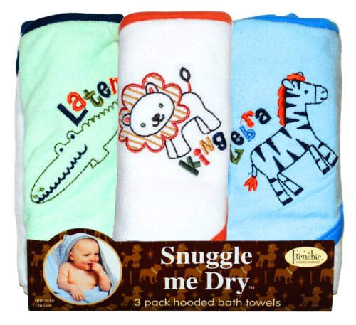 Wild Animal Hooded Bath Towel Set, 3 Pack, Boy, Frenchie Mini Couture ()
