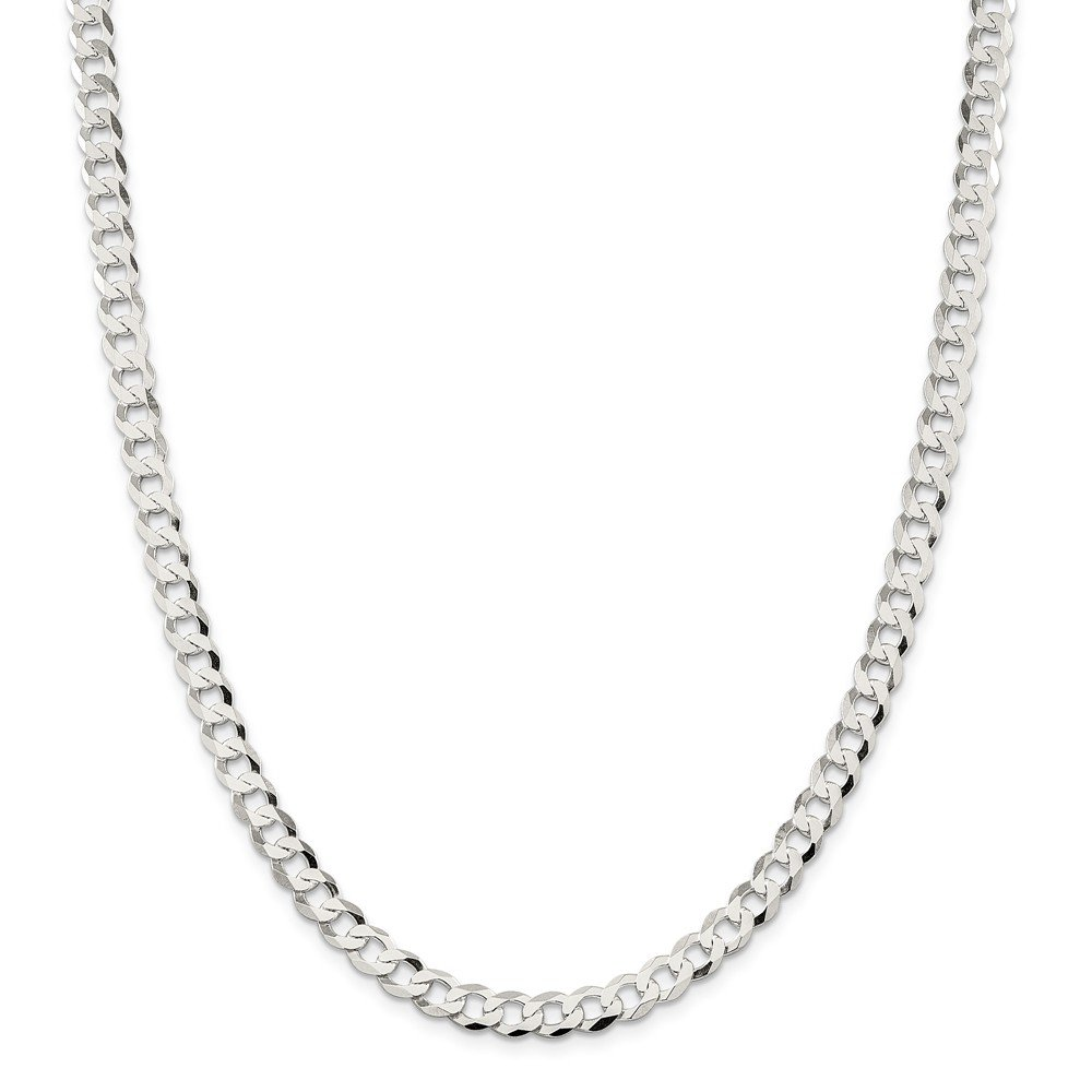 Sterling Silver 6.8mm Close Link Flat Curb Chain