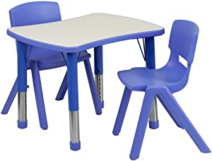Flash Furniture 21.875''W x 26.625''L Rectangular Blue Plastic Height Adjustable Activity Table Set with 2 Chairs