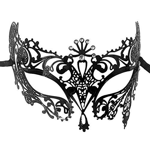 Yiweir Women's Rhinestones Metal Luxury Laser Cut Masquerade Filigree Mask ()