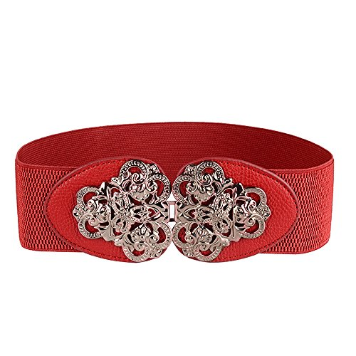 Women's Elastic Stretch Wide Waist Belts for Dress with Crown Buckle (Red) (Crown Belt Buckle)
