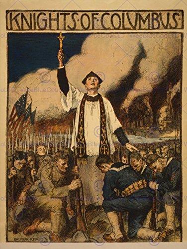 PROPAGANDA WAR WWI USA KNIGHTS COLUMBUS CATHOLIC SOCIETY POSTER PRINT BB7134B
