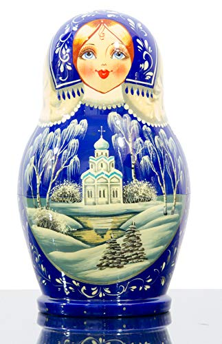 Russian Nesting Doll - Kirov - VJATKA - Hand Painted in Russia - Big Size - Wooden Decoration Gift Doll - Matryoshka Babushka (Style E, 8.25``(10 Dolls in 1)) by craftsfromrussia (Image #7)