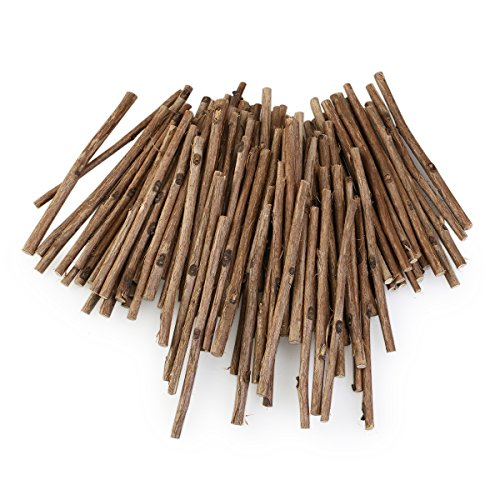WINOMO 100pcs Wood Log Sticks for DIY Crafts 10CM Long 0.3-0.5CM in Diameter (Wood Color)