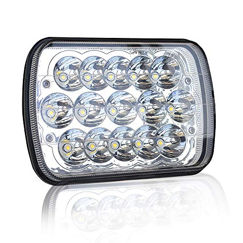Gmc S15 Pickup Truck Headlight - DOT Rectangular 5X7 7X6 Inch Led Hi/Lo Headlights Sealed Beam Replace For H6054 H5054 Headlamps Jeep Wrangler Cherokee Xj Yj Toyota Tacoma Suzuki Katana Kawasaki Chevy S10 Blazer Express Van Ford