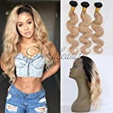 DoraBeauty 1B/27 Ombre Bundles Dark Roots Blonde Body Wave Brazilian Human Hair (12″12″12″Bundles) Review