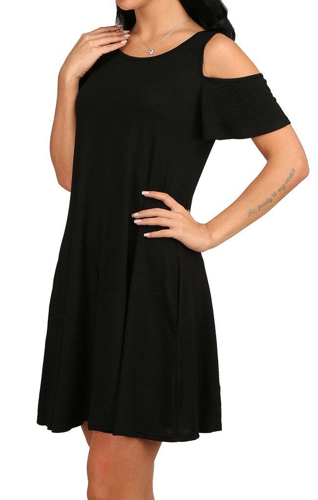 Women Plus Size Basic Tunic Tops Short Sleeve Tunic Sundresses Black XL