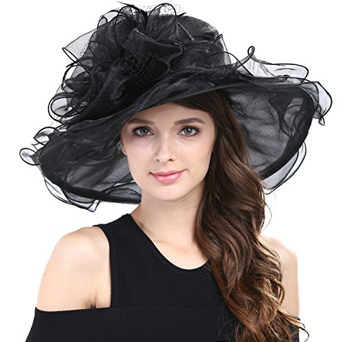 - Janey&Rubbins Women's Kentucky Derby Racing Horse Hat Church Wedding Dress Party Occasion Cap (Black)