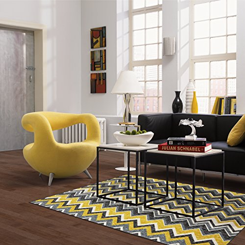 Mohawk Home New Wave Ziggidy Chevron Printed Area Rug, 5'x8', Yellow ()