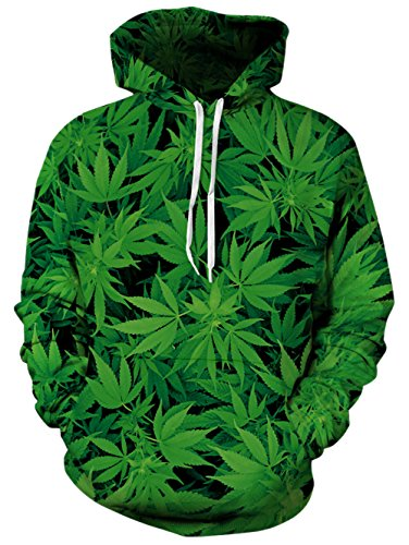 RAISEVERN Green Weed Leaf 3D Printed Journey Hooded Pullover Sweatshirt Large/X-Large
