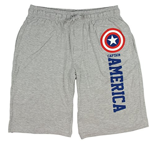 Marvel Comics Captain America Gray Lounge Shorts Men (Small) by Mad Engine
