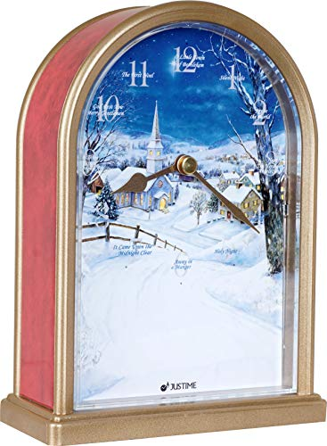 Polaris Silent Night 12 Song of Carols of Christmas Table Clock Christmas Decorating Multicolor Unique Gift Selection (Red Marble) ()