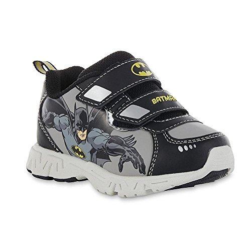 Batman Toddler Shoes (DC Comics Toddler Boy's Batman Black Gray Yellow Sneaker (US M 10 -)