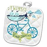 3dRose RinaPiro - Kids - Twins. Boys. Baby shower. Announcement. Cute picture. - 8x8 Potholder (phl_261339_1)