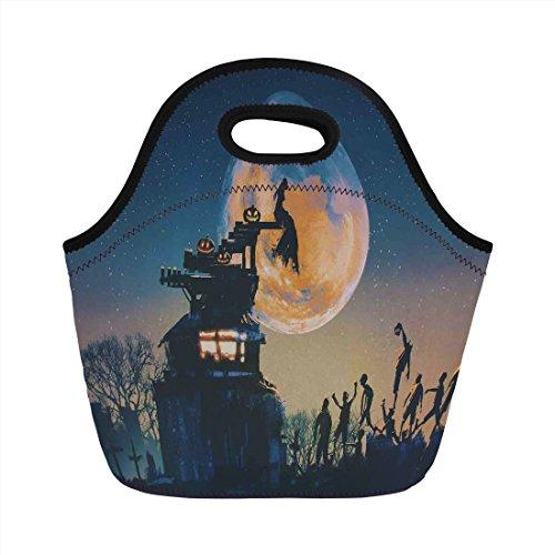 Neoprene Lunch Bag,Fantasy World,Dead Queen in Castle Zombies