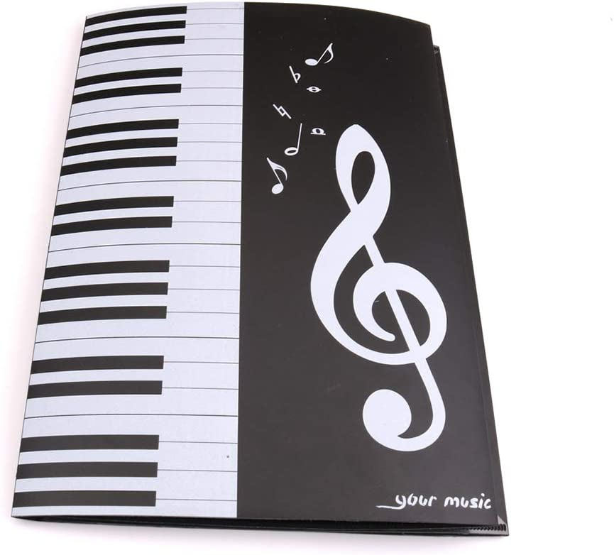 PVC Music Paper Display Folding Document Paper Folder Music Display Piano Music Score Folder 6 Pages Expanded File Folder A4 Music Sheet Folder 1pcs