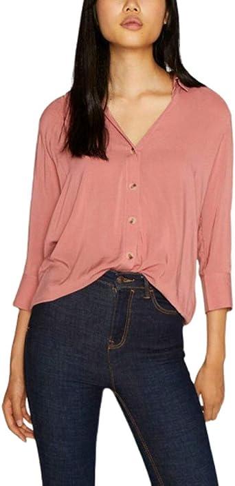 Emmala Camisa de Color sólido Blusa Mujer Botón para ...