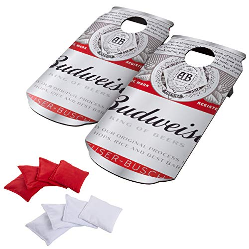 Busch Hey! Play! Budweiser Cornhole Outdoor Game Set, 2 Wooden Anheuser Can-Shaped Corn Hole Toss Boards with 8 Bean Bags