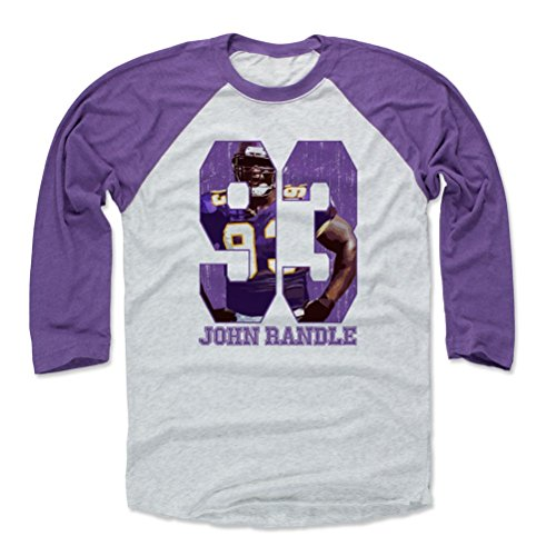 - 500 LEVEL John Randle Baseball Tee Shirt Large Purple/Ash - Vintage Minnesota Football Raglan Shirt - John Randle Game P