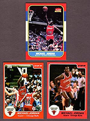 Michael Jordan (3) Card Lot (1985, 1986 Star and 1986 Fleer Basketball Rookie Reprint Cards (Chicago)