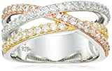 Sterling Silver Cubic Zirconia Tri-Tone Crossover Ring, Size 7