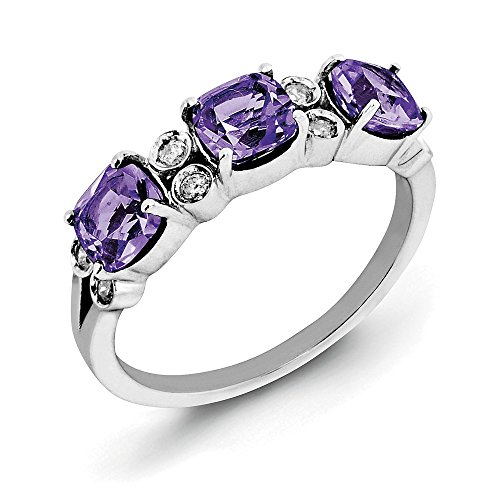 Cushion Amethyst & 1/10 Ctw (H-I, I2-I3) Diamond Sterling Silver Ring Size 10
