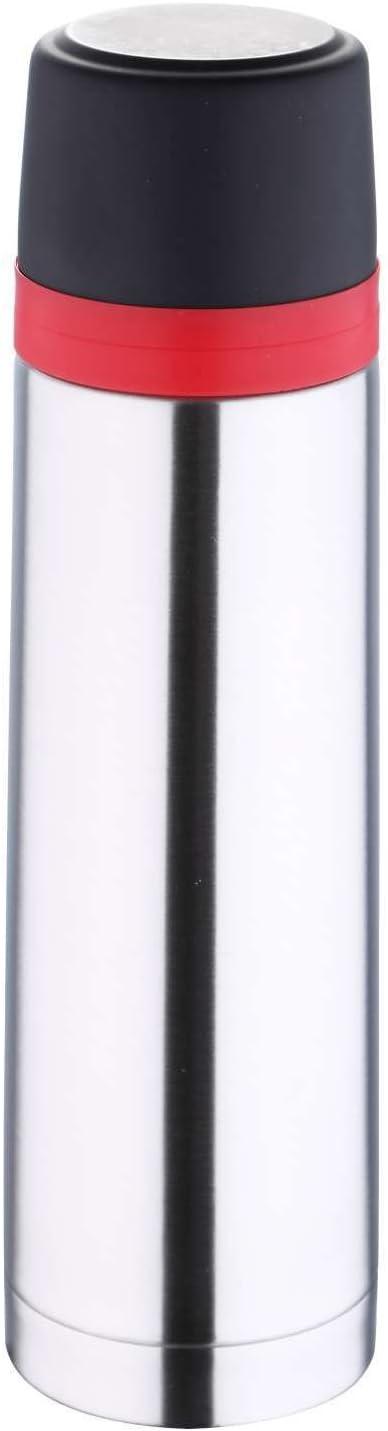 Termo para llevar de acero inoxidable con vaso, jarra térmica de 0,7 litros, doble pared (termo, bebidas frías y calientes, botella aislante, 750 ml)