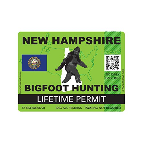 fagraphix New Hampshire Bigfoot Hunting Permit Sticker Die Cut Decal Sasquatch Lifetime FA Vinyl - 4.00 Wide