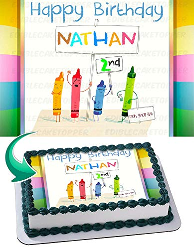 Crayons Edible Image Cake Topper Party Personalized 1/4 Sheet