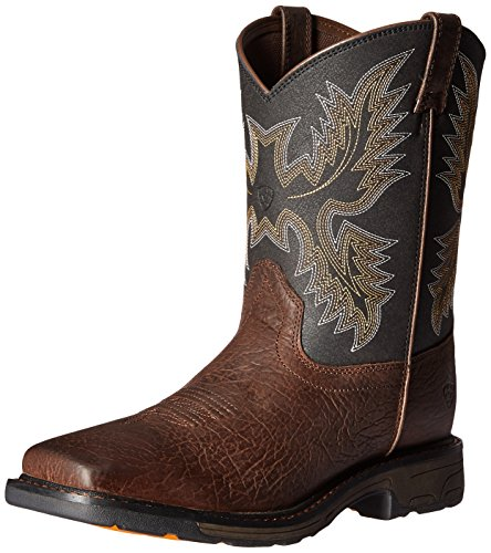 Kids' Workhog Wide Square Toe Western Cowboy Boot, Bruin Brown, 3 M US Little Kid (Boys Size 3 Cowboy Boots)