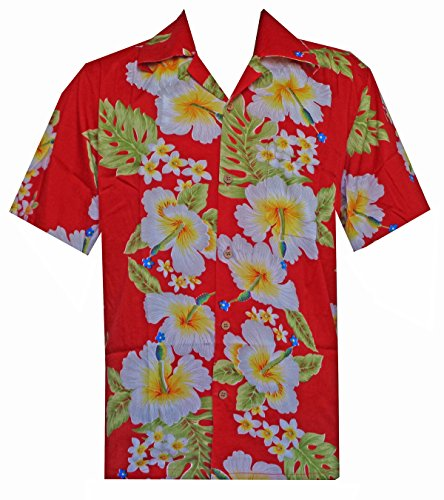 Alvish Hawaiian Shirt 10 Mens Hibiscus Floral Print Beach Camp Party Aloha Red 2XL