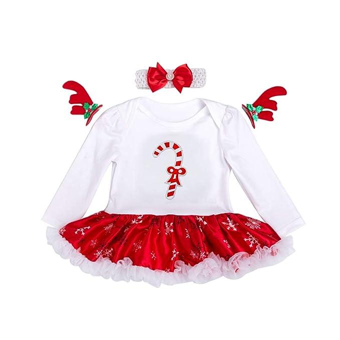 YuanDiann Bébé Fille 2 Pcs Déguisement Noël Vêtement de Baptême Nouveau Né  Habit De Noel Enfant Fete Tenue Ensemble Tutu Barboteuse Robe + Bandeaux ... e30e130057d