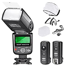 MSD PRO i-TTL Flash *Deluxe Kit* for NIKON DSLR D7100 D7000 D5300 D5200 D5100 D5000 D3200 D3100 D3300 D90 D800 D700 D300 D300S D610, D600, D4 D3S D3X D3 D200 N90S F5 F6 F100 F90 F90X D4S D SLR Camera- Includes: MSD Auto-Focus Flash + 2.4 GHz Wireless Trigger +M-Cord & B-Cord Cables + Hard & Soft Flash Diffuser + Lens Cap Holder