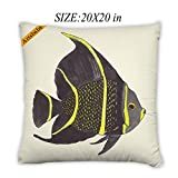 Artsbaba Pillowcases Fish Zipped Pillowcase Decorative Throw Pillow Cover 20''x20''